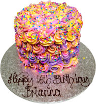 Stack Rainbow Frosting Birthday Cake (BC 16)